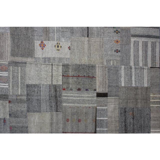"""Modern Hand Knotted Antique Patchwork Kilim - 12'6"""" X 8'3"""" For Sale - Image 3 of 3"""