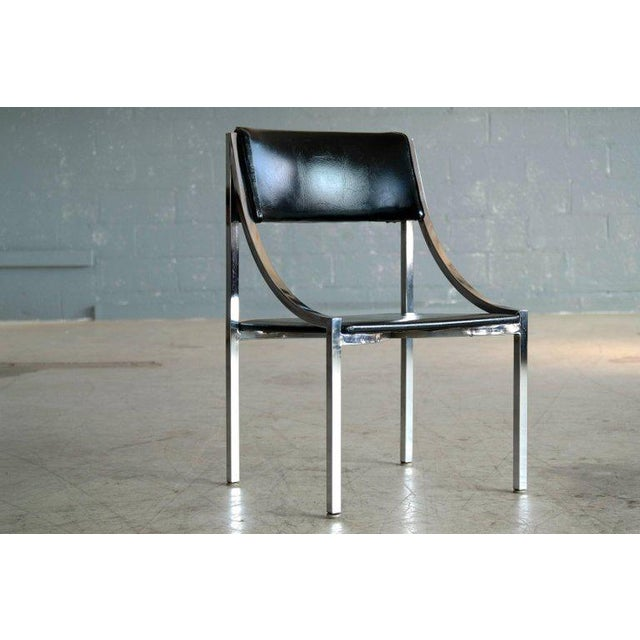 Sought after Wolfgang Hoffmann side chair in chrome and vinyl for Howell Company. Great versatile very decorative side or...