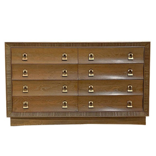 Paul Frankl / Brown Saltman Cerused & Combed Oak W. Brass Pulls 8 Drawer Dresser For Sale In New York - Image 6 of 6