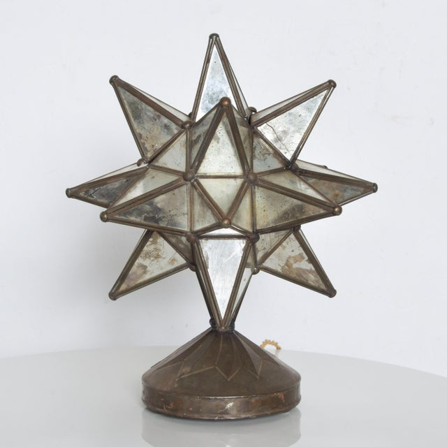 1960s Vintage Art Deco Glass Star Table Lamp on Patinated Brass Base, Mexico For Sale - Image 9 of 11