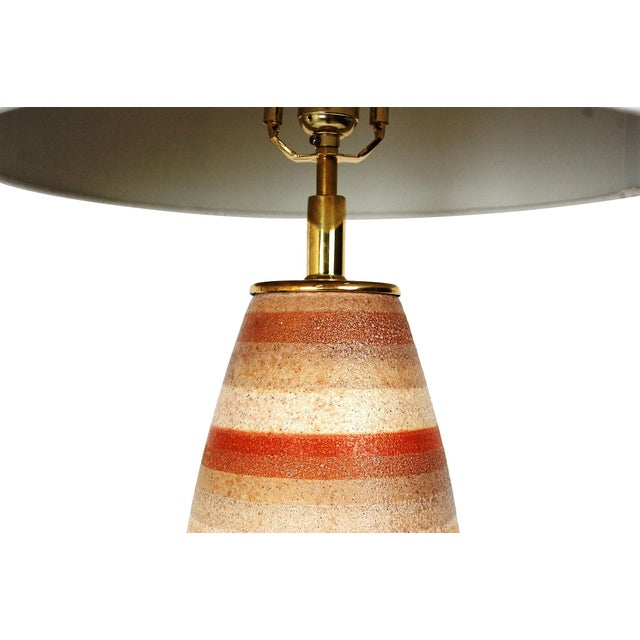 Large Mid-Century Striped Pottery Lamp - Image 3 of 9