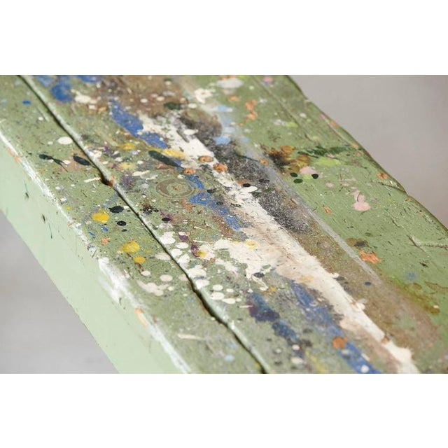 Green Primitive Green Pine Bench with Lots of Color Splashes from an Artist's Atelier For Sale - Image 8 of 10