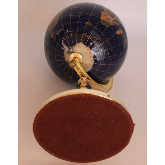 Vintage Blue Lapis World Globe on Brass Stand With Semiprecious Gems For Sale - Image 6 of 10