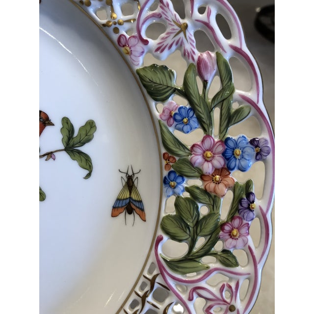 2000s English Traditional Herend Hand Painted Porcelain Rothchild Bird Decorative Plate For Sale - Image 5 of 12