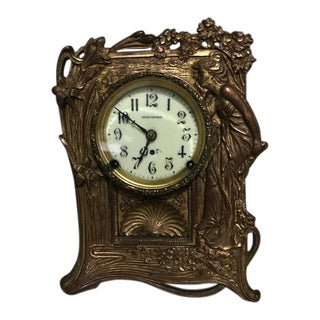 Seth Thomas Art Nouveau Brass Bronze Mantle Clock