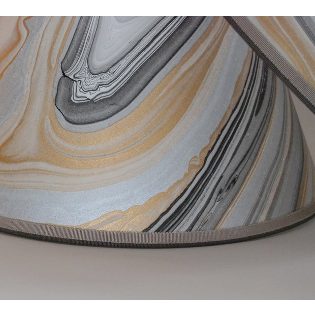 Gold, Grey & Black Marble Lampshades - Pair - Image 5 of 5
