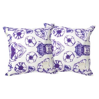 Geometric Floral Linen Pillows - A Pair For Sale
