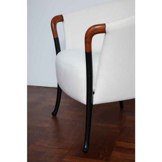Pair of Curved Back Armchair With Beech Wood Legs For Sale - Image 4 of 8