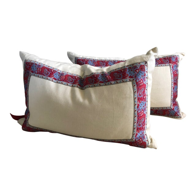 Vintage Paisley Trim Pillows - a Pair For Sale
