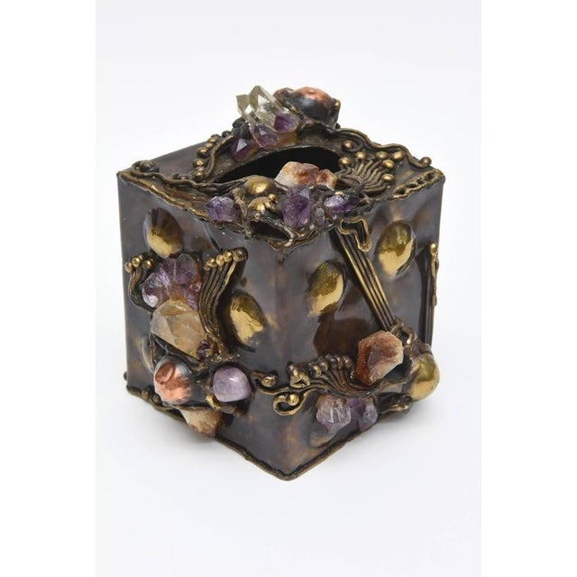 Brutalist Brutalist Sculptural Mixed Metal and Amethyst, Quartz Tissue Box/ SAT.SALE For Sale - Image 3 of 10