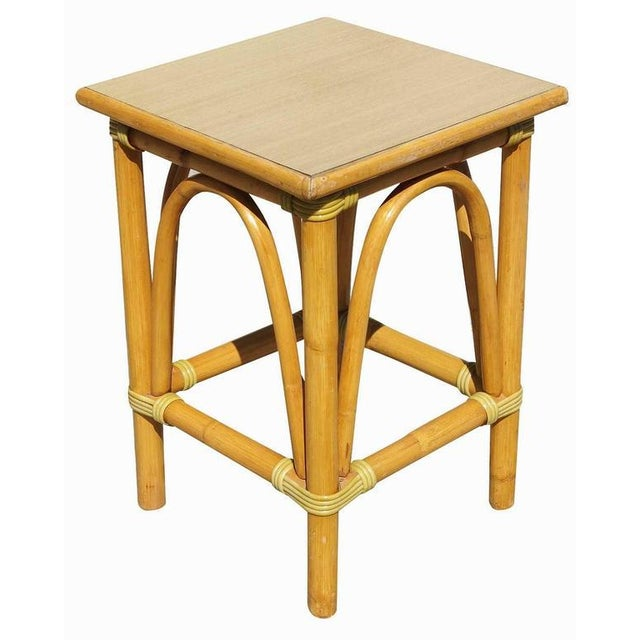 Restored Small Rattan Side Table with Arched Sides - Image 2 of 5