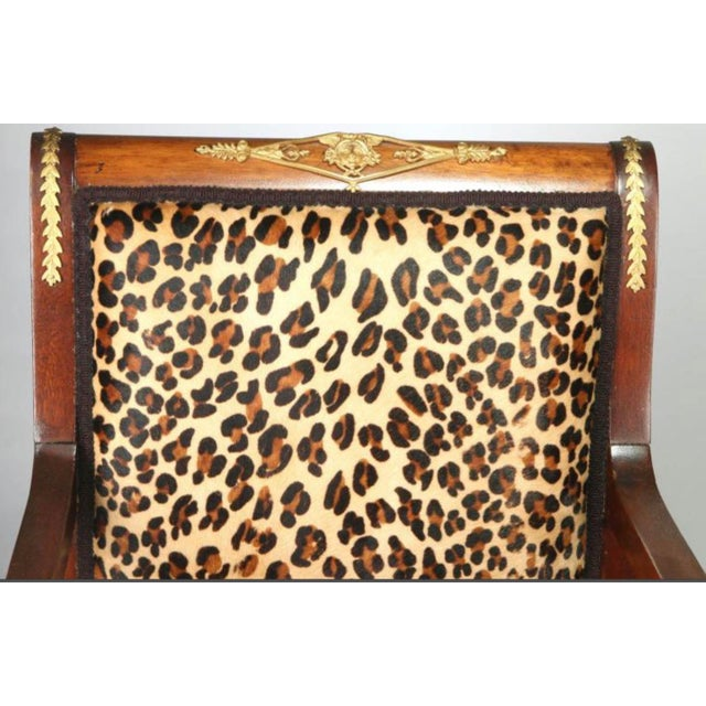 Empire High End Empire Style Chairs With Leopard Fabric- a Pair For Sale - Image 3 of 9