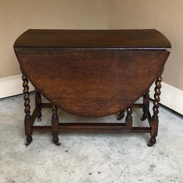 Rustic Antique Barley Twist Gateleg Drop Leaf Table For Sale - Image 3 of 13