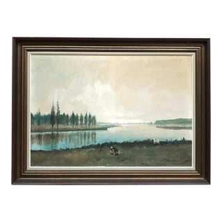 Antique Framed Oil Painting on Canvas by Pauwels For Sale