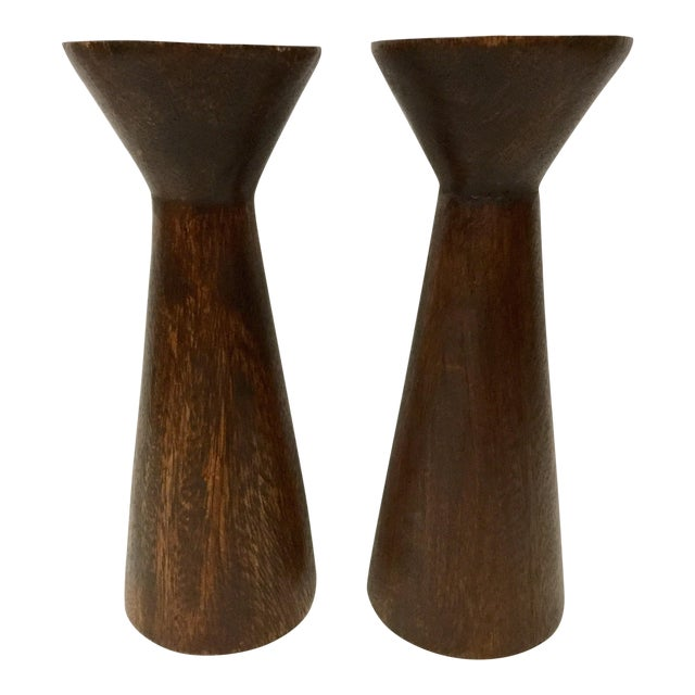 1950s Boho Chic Solid Wood Candle Holders - a Pair For Sale