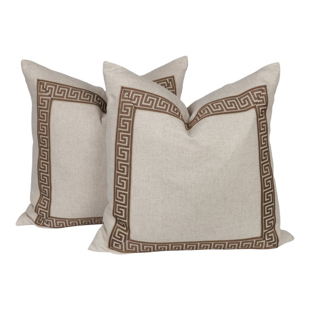 Oatmeal Linen and Caramel Greek Key Pillows, a Pair For Sale