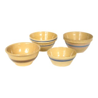 Vintage Yellow Ware Banded Bowls - Set of 4
