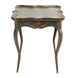Floral Painted French Provincial End Table For Sale