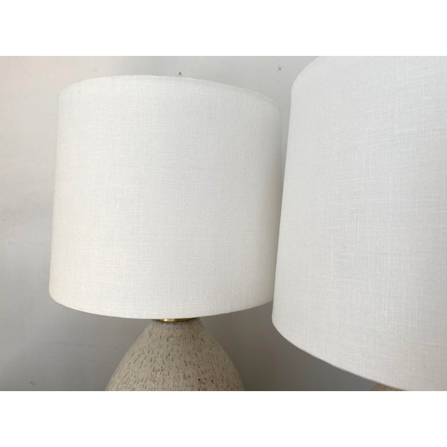 Ivory Organic Modern Handmade Ceramic Table Lamps - a Pair For Sale - Image 8 of 11