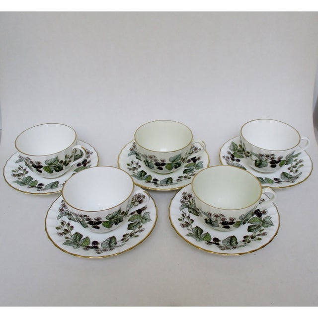 Vintage Royal Worcester Cups & Saucers - 10 Pieces For Sale - Image 5 of 6
