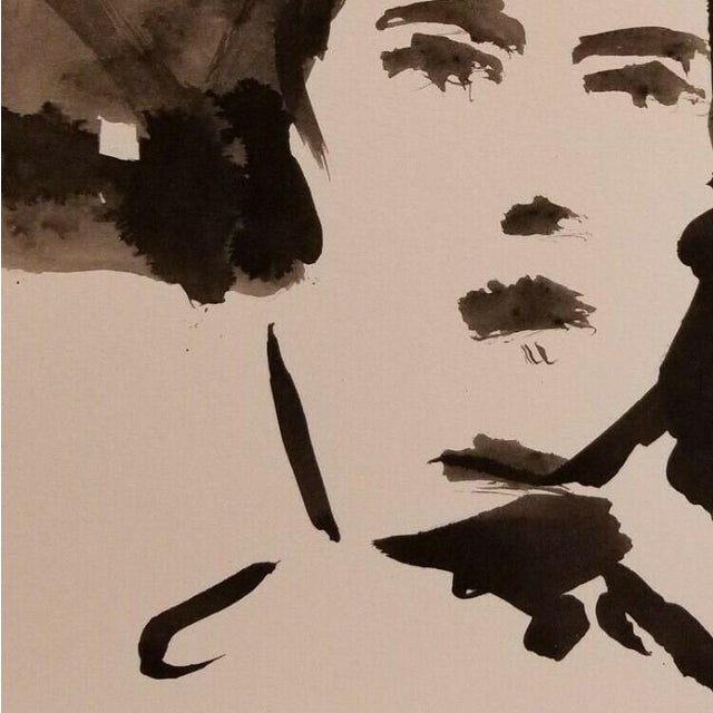"""Contemporary Jose Trujillo Abstract Expressionism Ink Wash Portrait - Minimalist Originals - 12"""" For Sale - Image 3 of 4"""