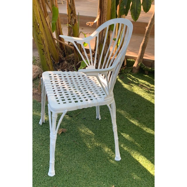 1920s 20th Renaissance Revival Style Cast Iron White Garden Chairs in Faux Bamboo - a Pair For Sale - Image 5 of 11