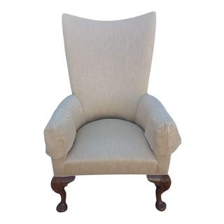 Carved Legs and Bun Feet Tan Chair With Arm Covers For Sale