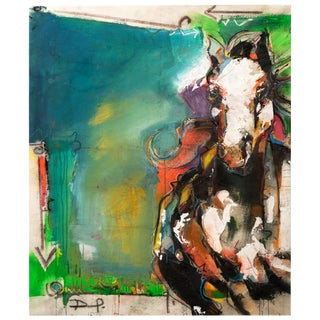 Abstract Painting of a Horse on Canvas For Sale