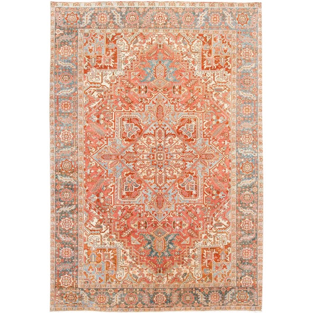 Early 20th Century Antique Heriz Wool Rug For Sale