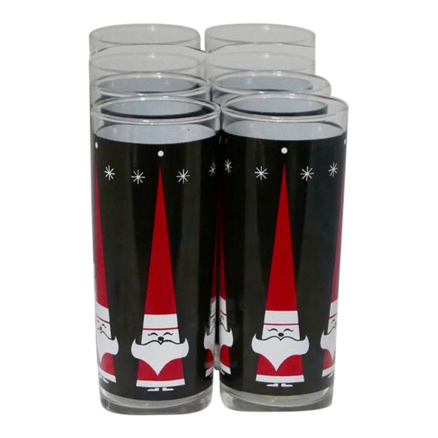 Vintage Libbey Holt-Howard Santa Christmas Glass Tumblers Set of 8 For Sale