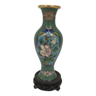 Cloisonné Bird Vase With Stand For Sale