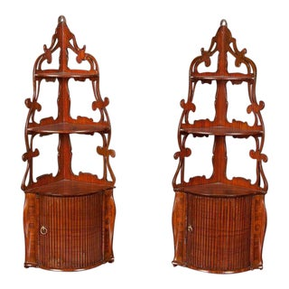 Pair of French Corner Shelves For Sale