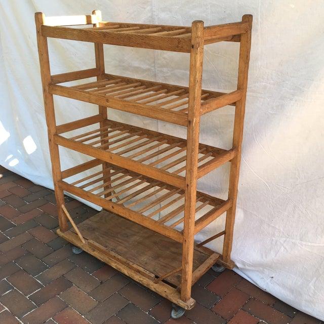 Vintage Industrial Wooden Bakers Rack For Sale - Image 4 of 10