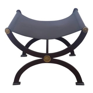1990s Vintage Roman Leather Sling Curule Bench For Sale