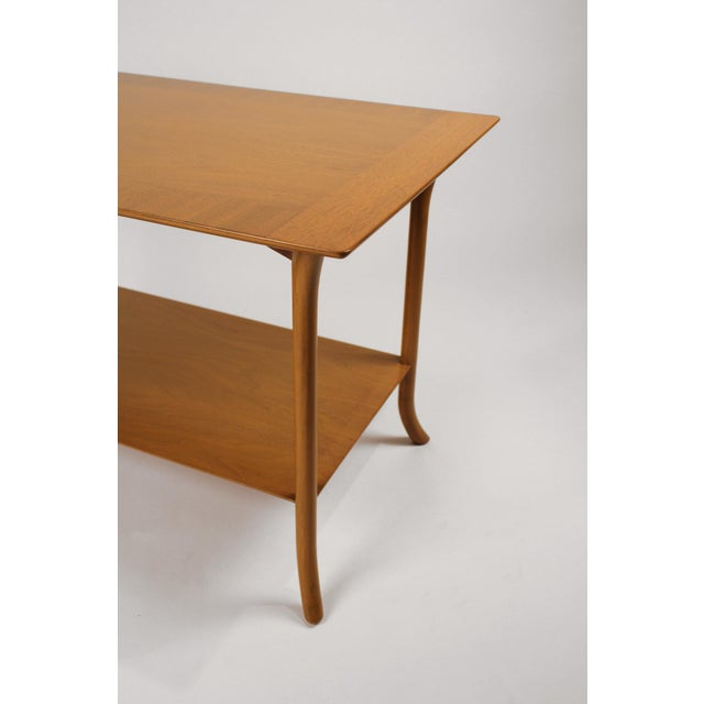 1950s t.h. Robsjohn Gibbings Bleached Mahogany Sabre Leg Side Tables for Widdicomb - A Pair For Sale - Image 5 of 9