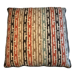"Jim Thompson ""Chinese Steps"" Linen 22"" Pillow For Sale"
