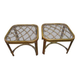 McGuire Style Rattan Bamboo Glass Tables - a Pair For Sale