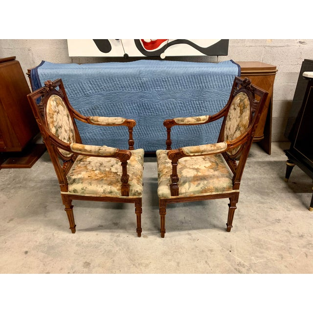French 1920s Vintage French Louis XVI Solid Mahogany Accent Chairs or Bergère Chairs - a Pair For Sale - Image 3 of 13