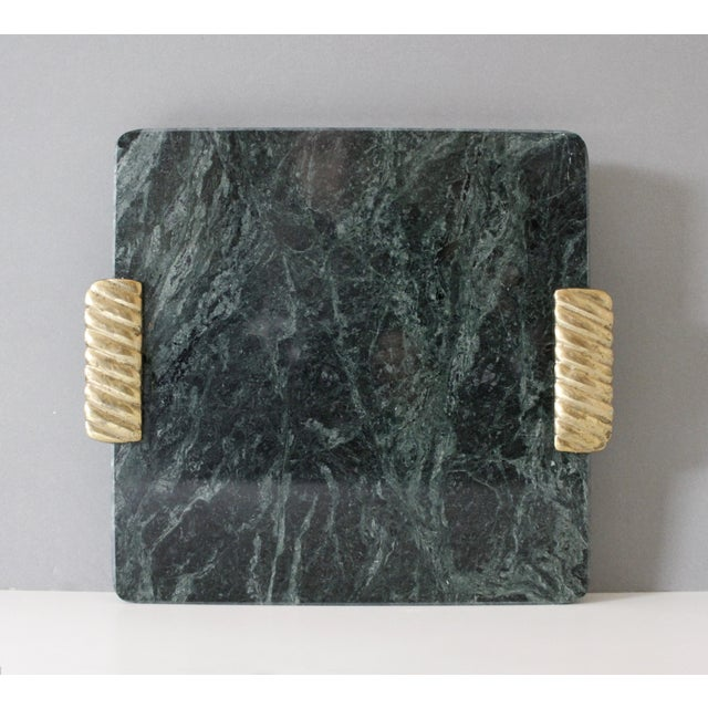 Georges Briard Green Marble & Brass Cutting Board Serving Tray Mid Century For Sale In New York - Image 6 of 6