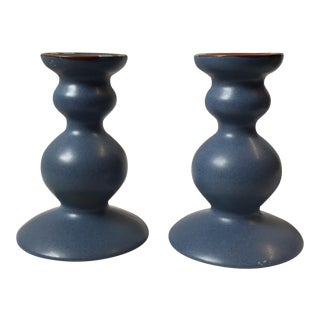 Dansk Curvy Ceramic Candlestick Holders- A Pair