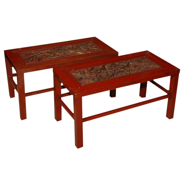 19th Century Red Lacquered Chinese Tables - a Pair For Sale