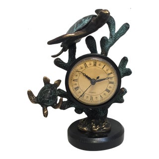 Brass Turtle Sculpture with Clock