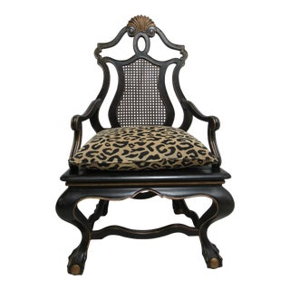 Modern Oversized Maitland Smith Ball Claw Throne Cane Back Arm Chair For Sale