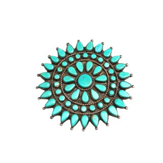 40s Zuni Turquoise Brooch / Large For Sale