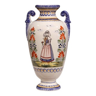 Tall Early 20th Century French Hand-Painted Faience Vase Signed Henriot Quimper For Sale