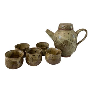 Studio Pottery Pitcher With Cups - Set of 6 For Sale
