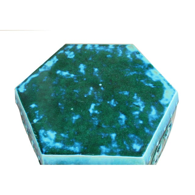 Ceramic Clay Green Turquoise Glaze Hexagon Motif Garden Stool Table For Sale In San Francisco - Image 6 of 7