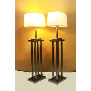 Mid Century George Kovacs Style Skyscraper Steel Architectural Floor Lamps with Shades Preview