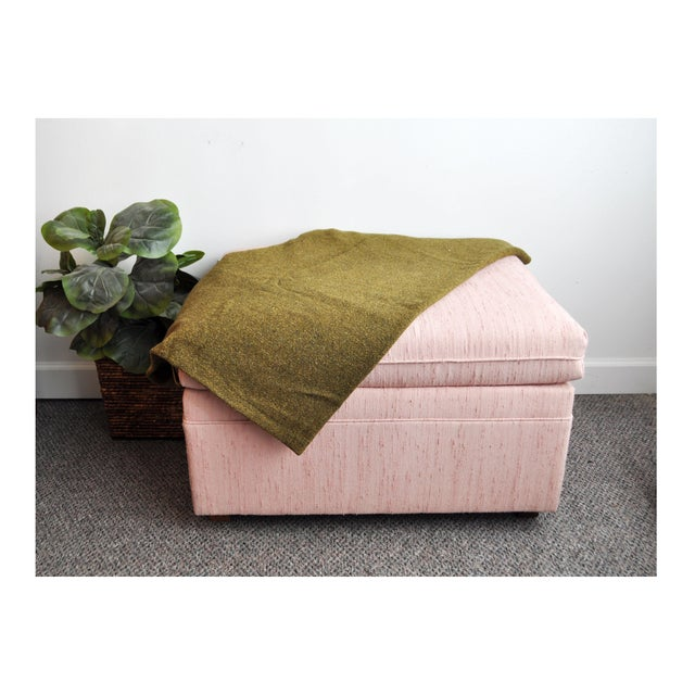 Contemporary Blush Pink Upholstered Ottoman For Sale - Image 3 of 9