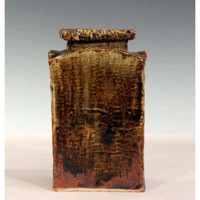 Vintage Studio Pottery Slab Wabi Sabi Rectangular Square Vase Signed Ikebana For Sale - Image 9 of 9